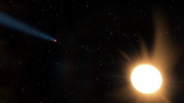 Representación del sistema LTT9779 a escala, con el planeta caliente del tamaño de Neptuno a la izquierda y su brillante estrella cercana a la derecha. El rastro de material que sale del planeta es hipotético pero probable, basado en la intensa irradiación de este planeta