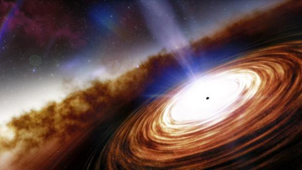 Recreación del cuásar J0313-1806 que muestra el agujero negro supermasivo y el viento de velocidad extremadamente alta