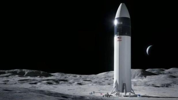 Ilustración de la nave Starship sobre la Luna