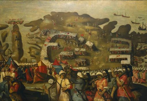 El sitio de Malta. Llegada de la flota turca, por Mateo Pérez de Alesio
