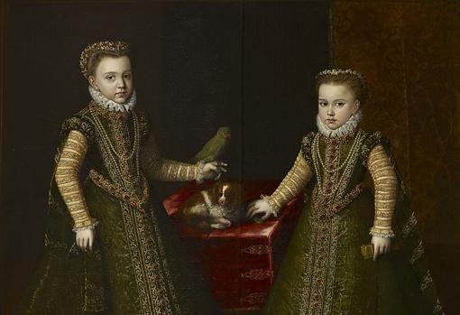 Las infantas Isabel Clara Eugenia y su hermana menor, Catalina Micaela. Retrato de 1570.