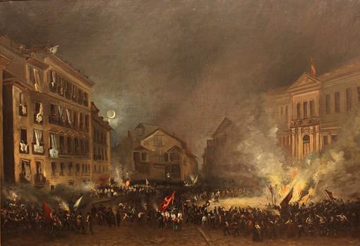 Episodio de la revolución de 1854 en la Puerta del Sol, por Eugenio Lucas Velázquez..