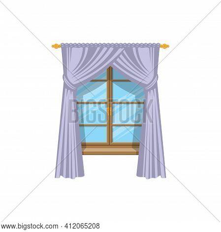 drapery curtains on vector photo