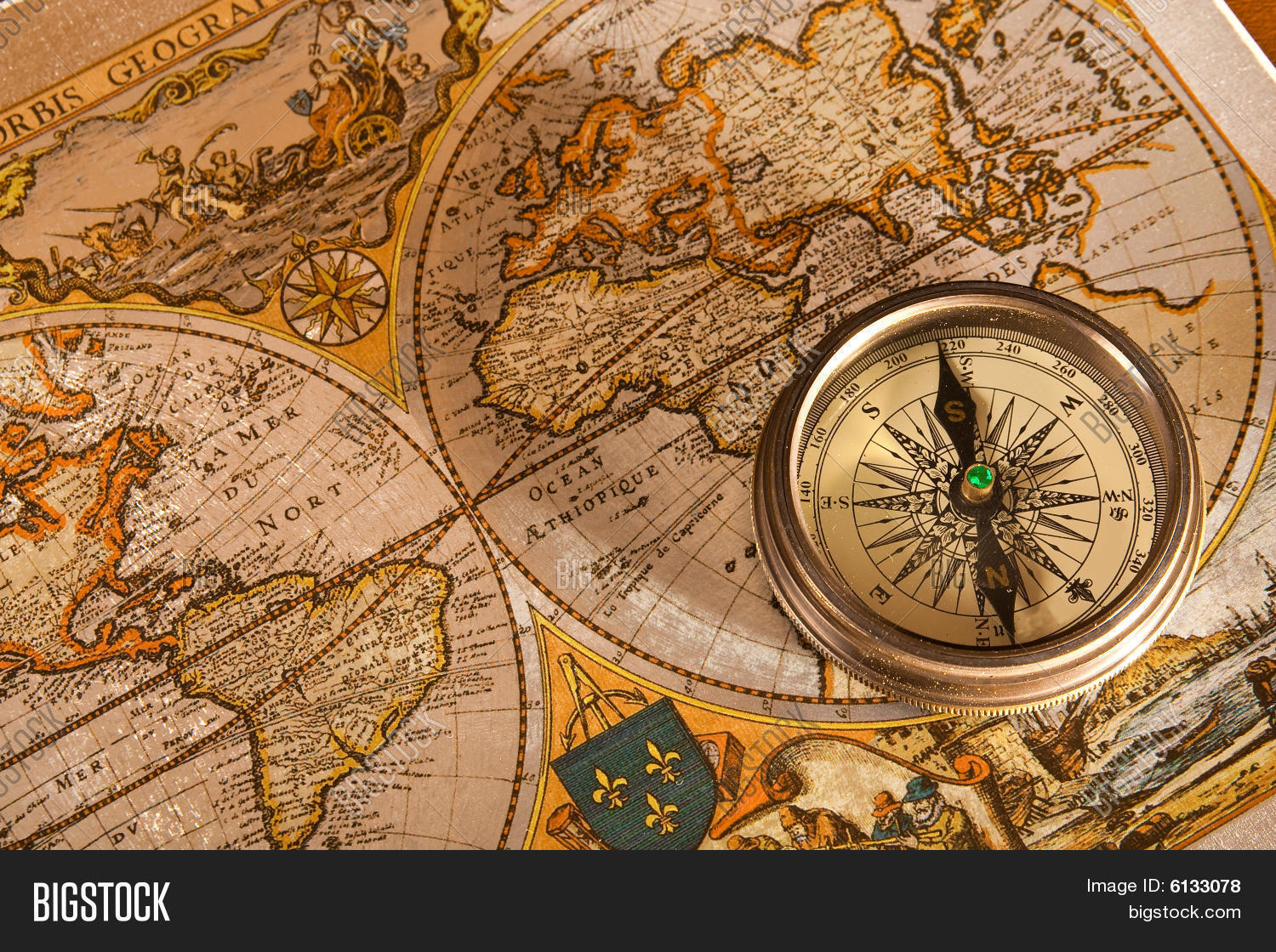 Old Map Compass Image Amp Photo Free Trial