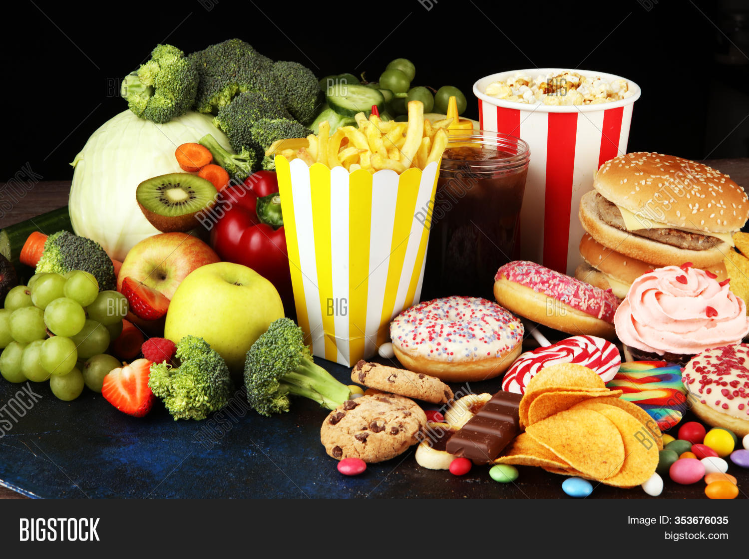 Healthy Unhealthy Food Image Amp Photo Free Trial