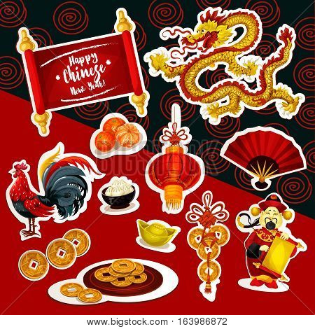 Chinese New Year Vector   Photo  Free Trial    Bigstock Chinese New Year symbol sticker set  Red lantern  Chinese New Year rooster   lucky