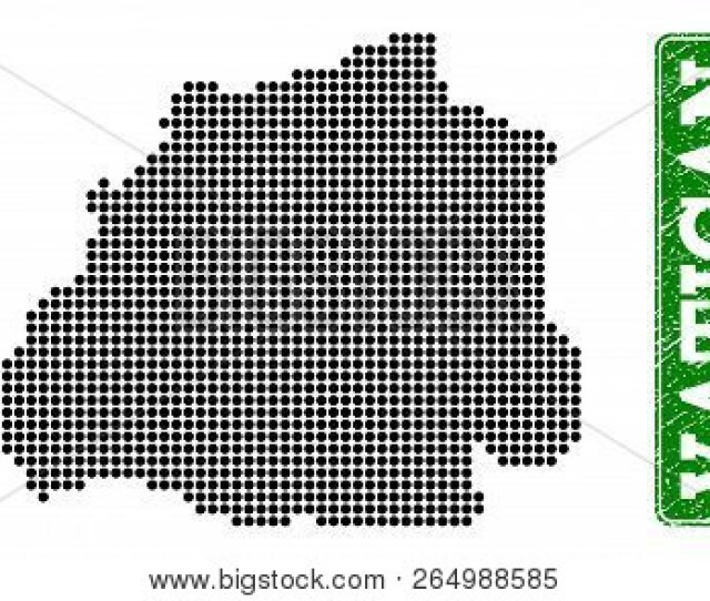 Dotted Map Of Vatican And Rubber Caption Vector Green Title Inside Rounded Rectangle And Grunge