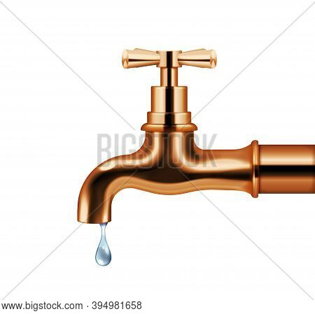 copper water faucet vector photo
