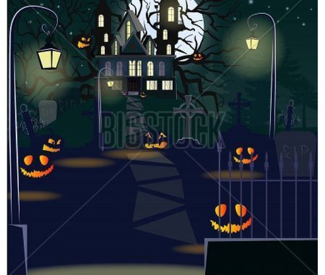 Road To Haunted House With Lanterns And Pumpkins Vector Illustration Halloween Night Background Holiday Concept For Websites Wallpapers Banners Or
