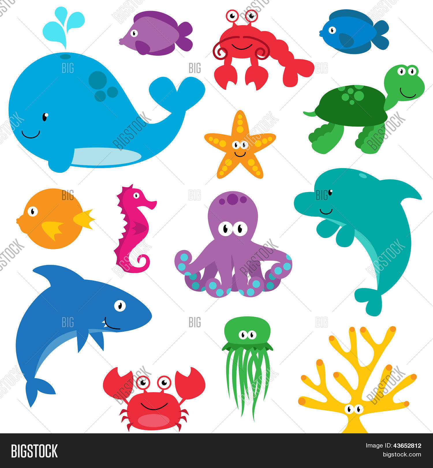 Vector Set Cute Sea Vector Amp Photo Free Trial