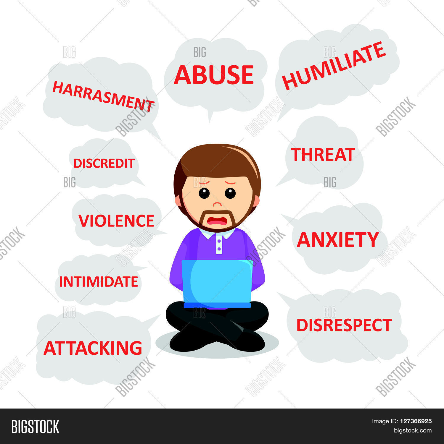 Man Cyber Bullying Vector Amp Photo Free Trial