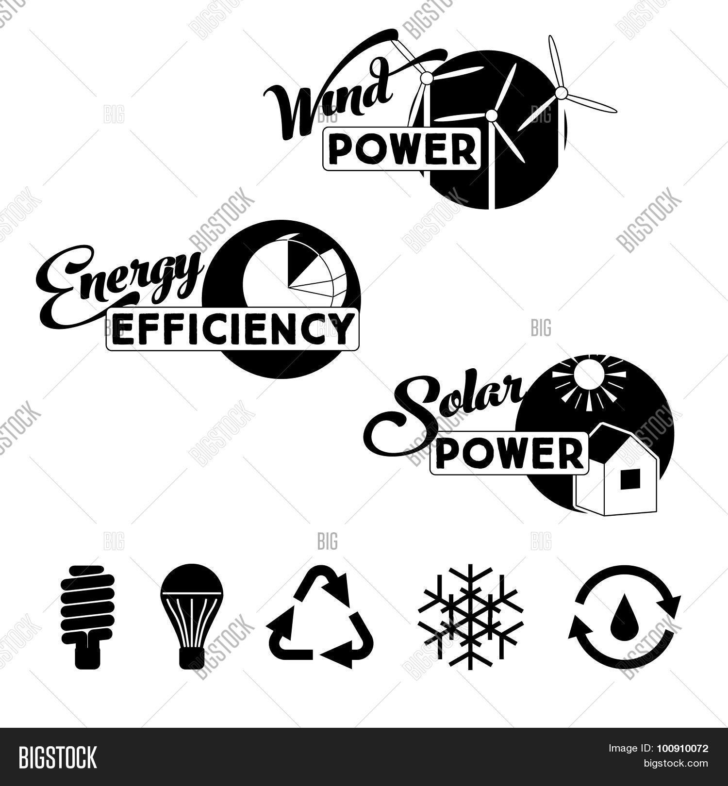 Alternative Energy Labels Badges Vector Amp Photo