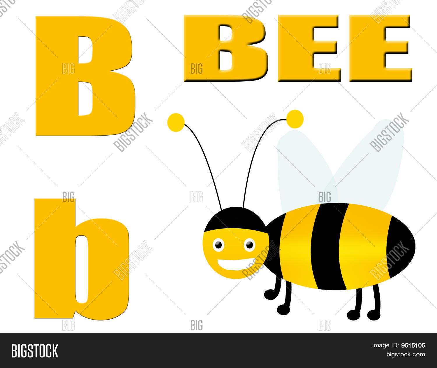 B For Bee On White Background Stock Vector Amp Stock Photos