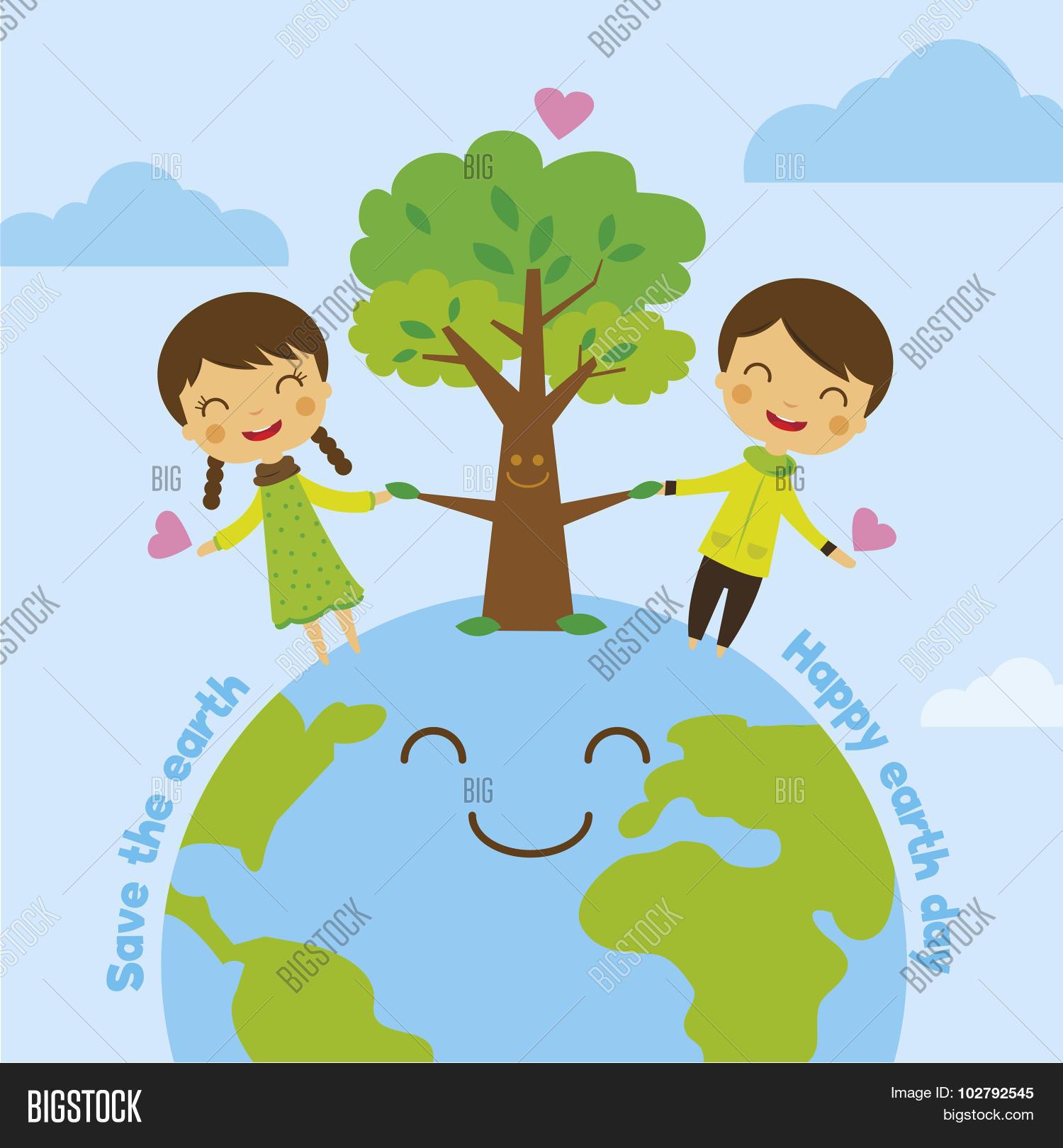 Cartoon Save Earth Save World Vector Amp Photo
