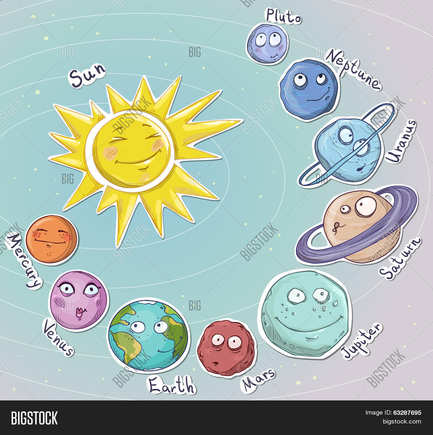 Cartoon Planets Solar System Vector Illustration Stock