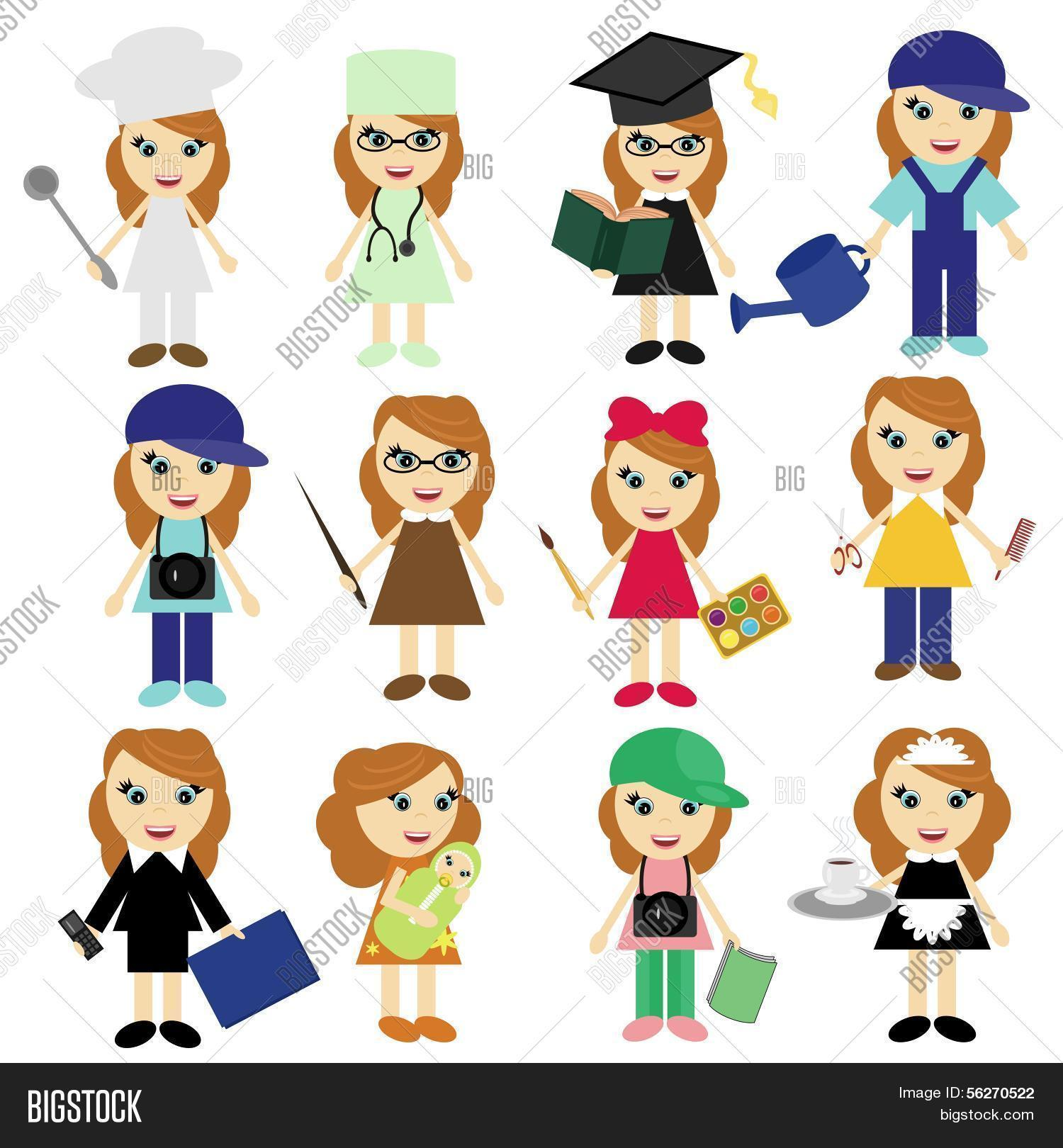 Different Jobs Girls On White Vector Amp Photo