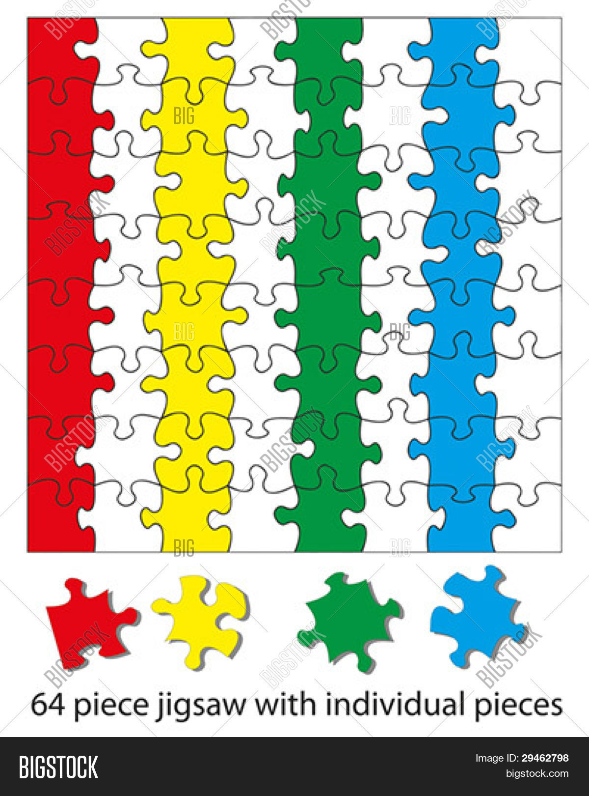64 Piece Jigsaw Puzzle Blank When Vector Amp Photo
