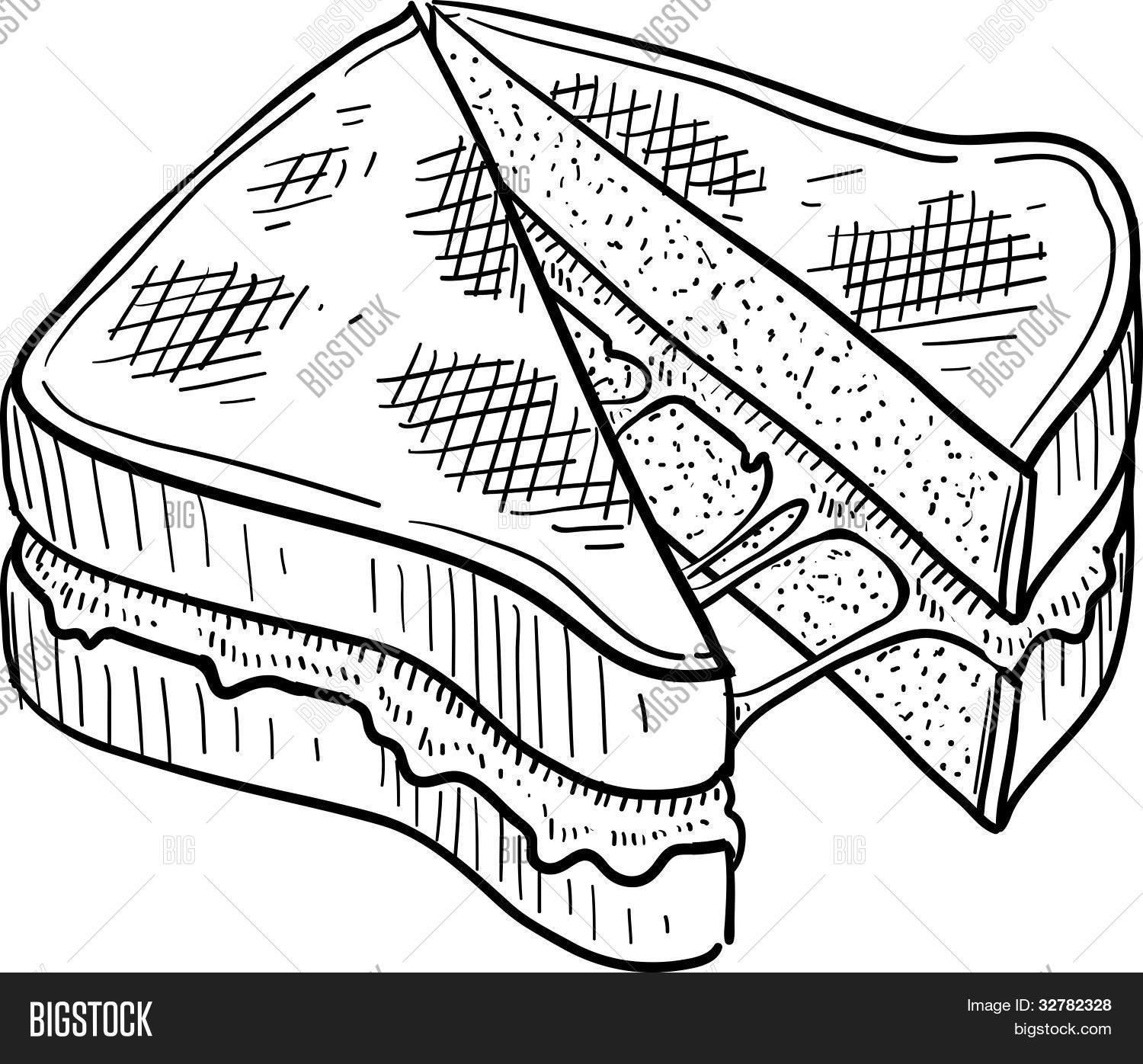 Grilled Cheese Sandwich Sketch Stock Vector Amp Stock Photos
