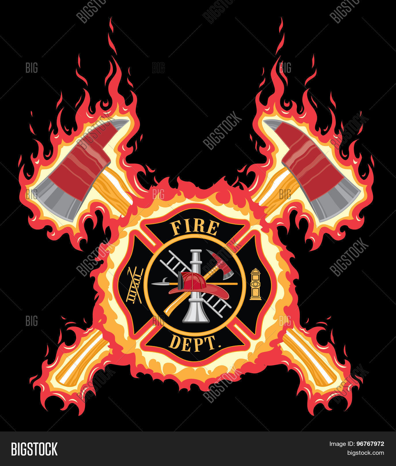 Firefighter Cross With Axes And Flames Stock Vector
