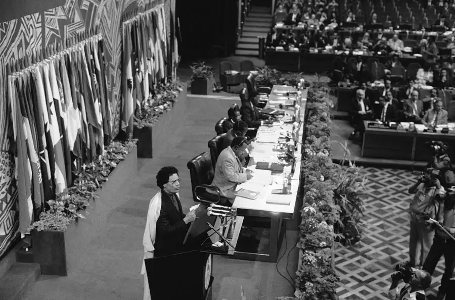 Qaddafi at the 8th Non-Aligned Movement Conference in Harare, Zimbabwe, in which he threatened to withdraw because some of the members recognized Israel, Sept. 4, 1986