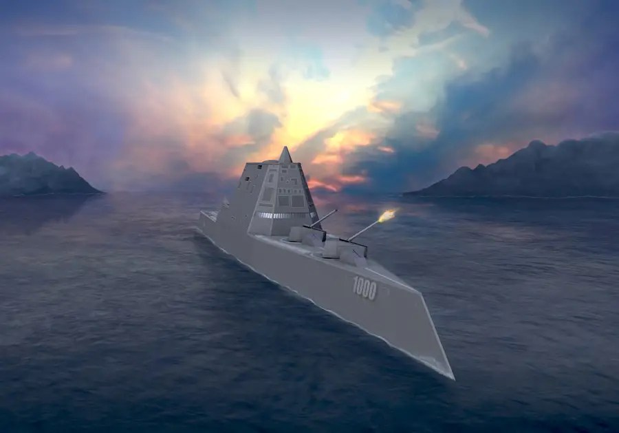 BAE Systems Land and Armaments developed the ship's advanced gun system (AGS), which will be able to fire advanced munitions and the Zumwalt Class vessels have two landing spots for helicopters.