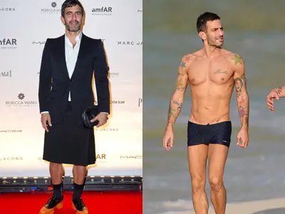 Clothing designer Marc Jacobs revealed his toned new figure on the runway in 2007. The 49-year-old reportedly earned his beach body by only eating vegan food and working out two hours a day, seven days a week.