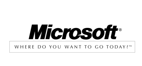 "1994-2002: As a part of a $100 million marketing campaign, Microsoft briefly added the tagline: ""Where do you want to go today?"""