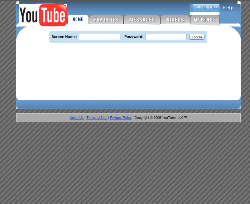 May 2005: YouTube launches its first public beta site. As you can see, the design has changed quite a bit since then.
