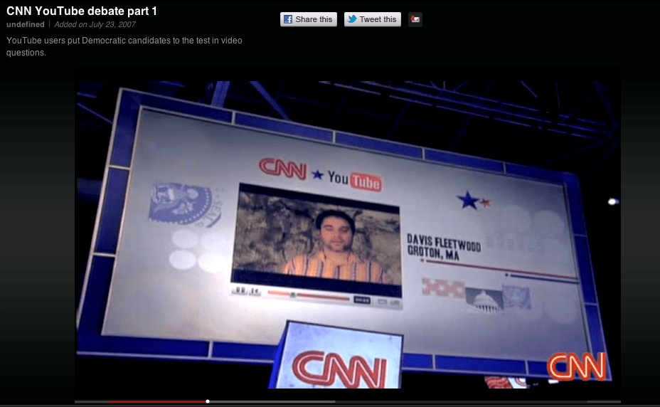 July 2007: YouTube teams up with CNN to host the presidential debate for the 2008 election cycle, which features citizen-submitted video questions. Seven out of the 16 presidential candidates announced their campaigns via YouTube.