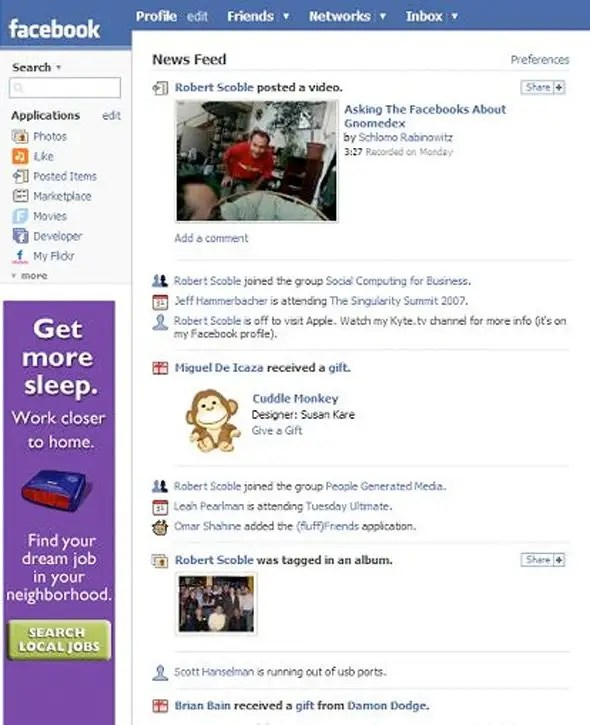 Facebook launched the News Feed to display all your friends' activity in a single timeline in 2006.