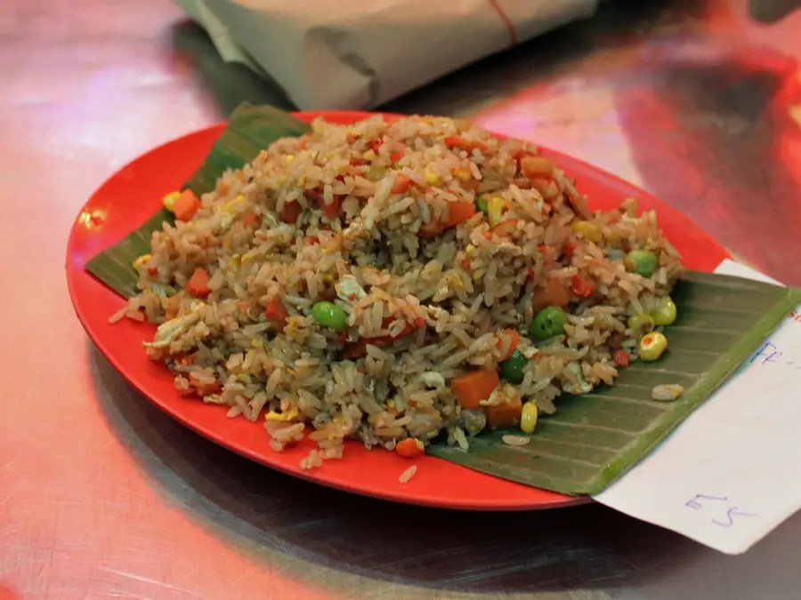 Chinese fried rice with seafood is typical hawker center fare.