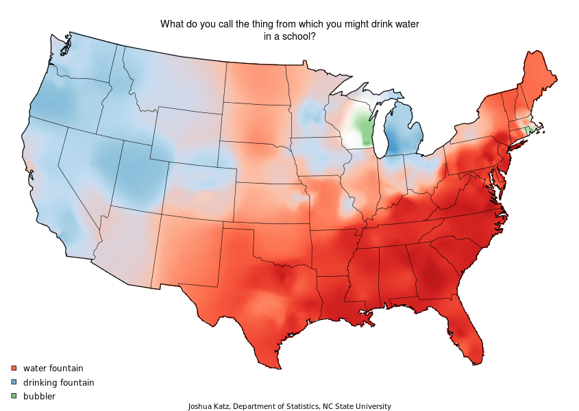 "Let's ignore the East Coast/West Coast split and notice that Wisconsin and Rhode Island call a water fountain a ""bubbler."""