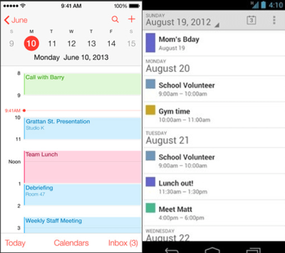 Like Android's Calendar, the new iOS Calendar uses a bright white background and a pastel color scheme to represent allocated time slots.