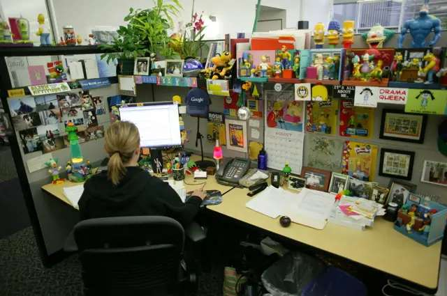 Googlers work in cubbies in open offices. Here's a picture of one available online from Google's PR folks.