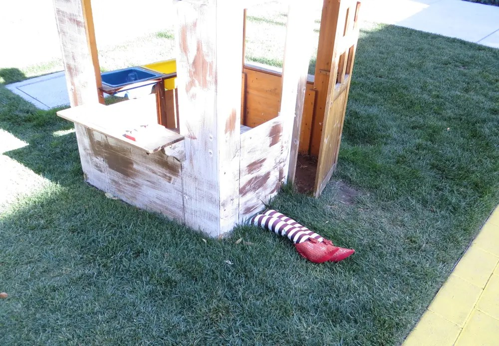 Someone else added the Wizard of Oz house complete with dead witch and ruby red slippers.
