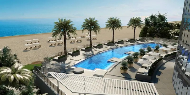 There's another large pool on the ground floor, just steps away from the beach.