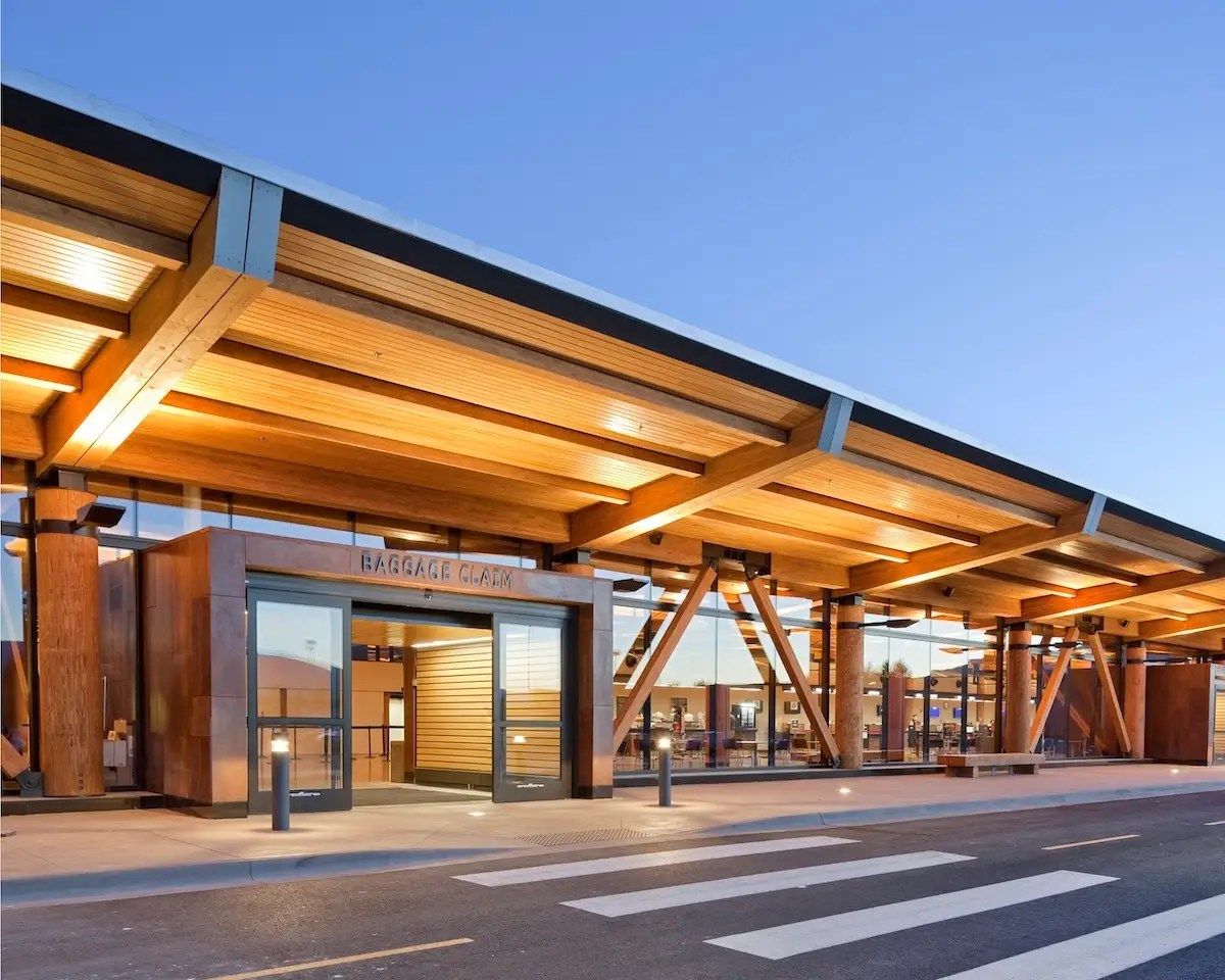 Wyoming's Jackson Hole Airport is an understated, LEED Silver-Certified building with glass curtains meant to reduce separation between it and the surrounding landscape. (Gensler)