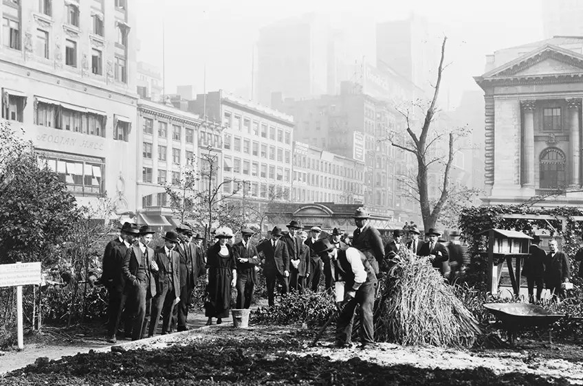 "1922: Bryant Park has evolved over the years. Here, a ""demonstration garden"" is planted on the eastern end of the park."
