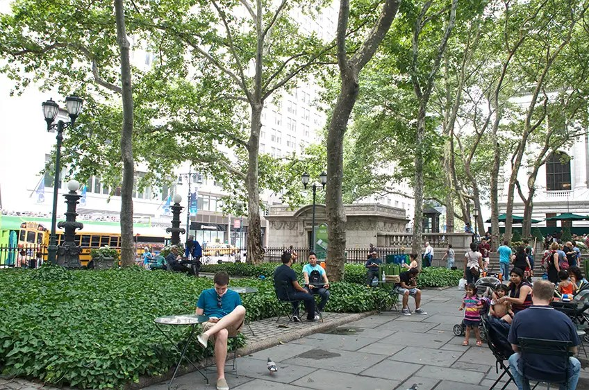 2013: More than 90 years later, the park is still an urban sanctuary. Note the New York Public Library in the background.