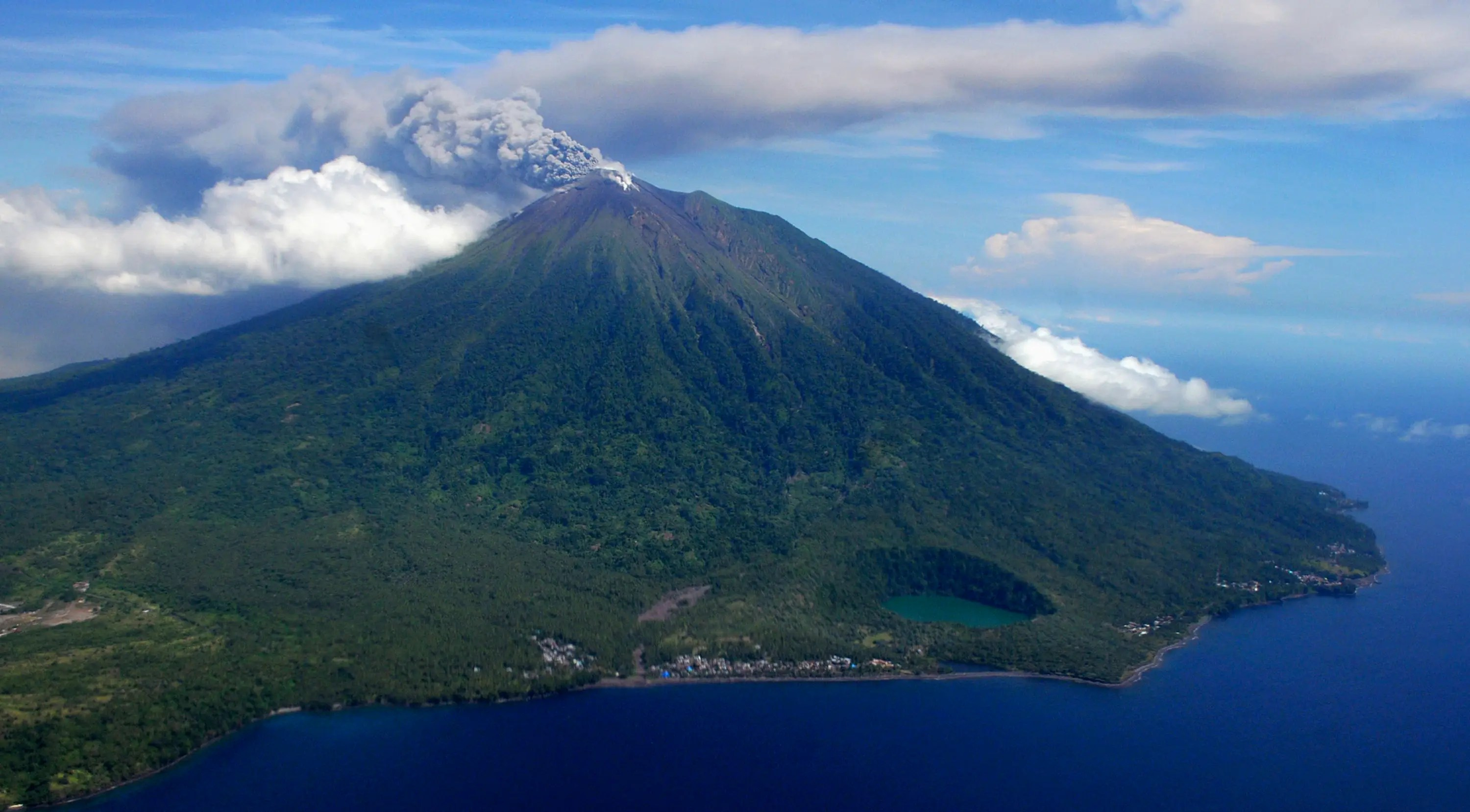 An aerial view of Mount Gamalama as it spews volcanic ash after it erupted at the Indonesia's Ternate Island.