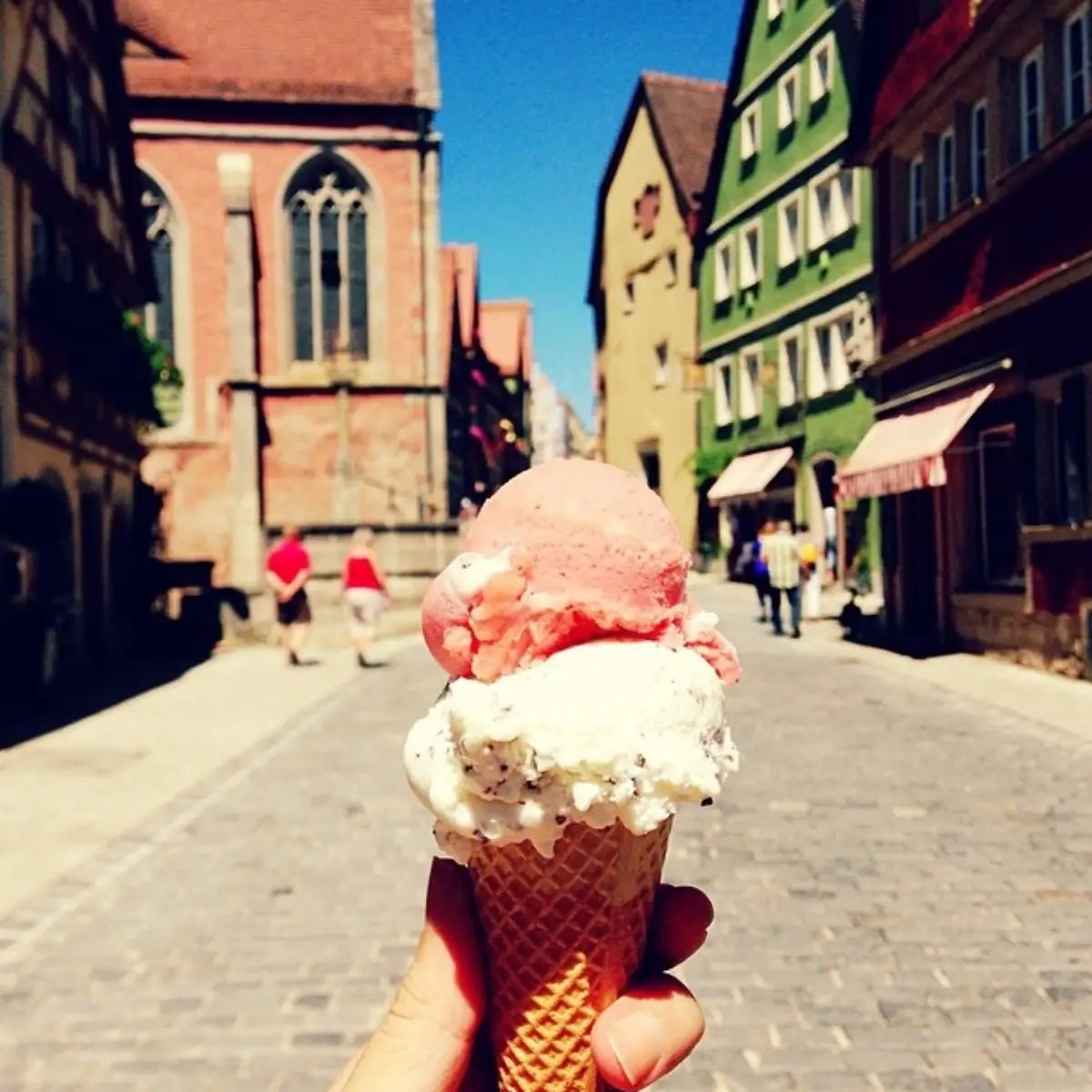 Gelato at Rothenburg Ob de Tauber, a charming small medieval town in Germany.