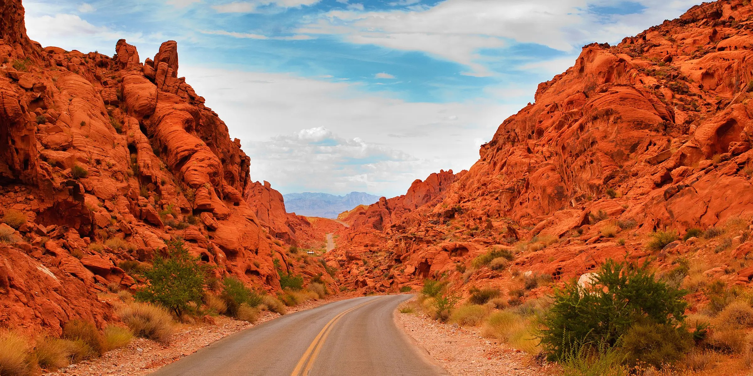The Valley of Fire Road in Nevada passes through beautiful red sandstone formations that look like they are on fire when reflecting the sun.