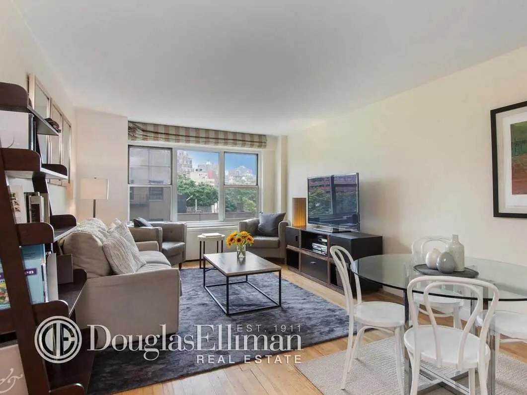 In New York, $995,000 buys a one-bedroom, 640-square-foot apartment in the West Village. The building has a private rooftop terrace, 24-hour doorman, fitness room, and laundry room.