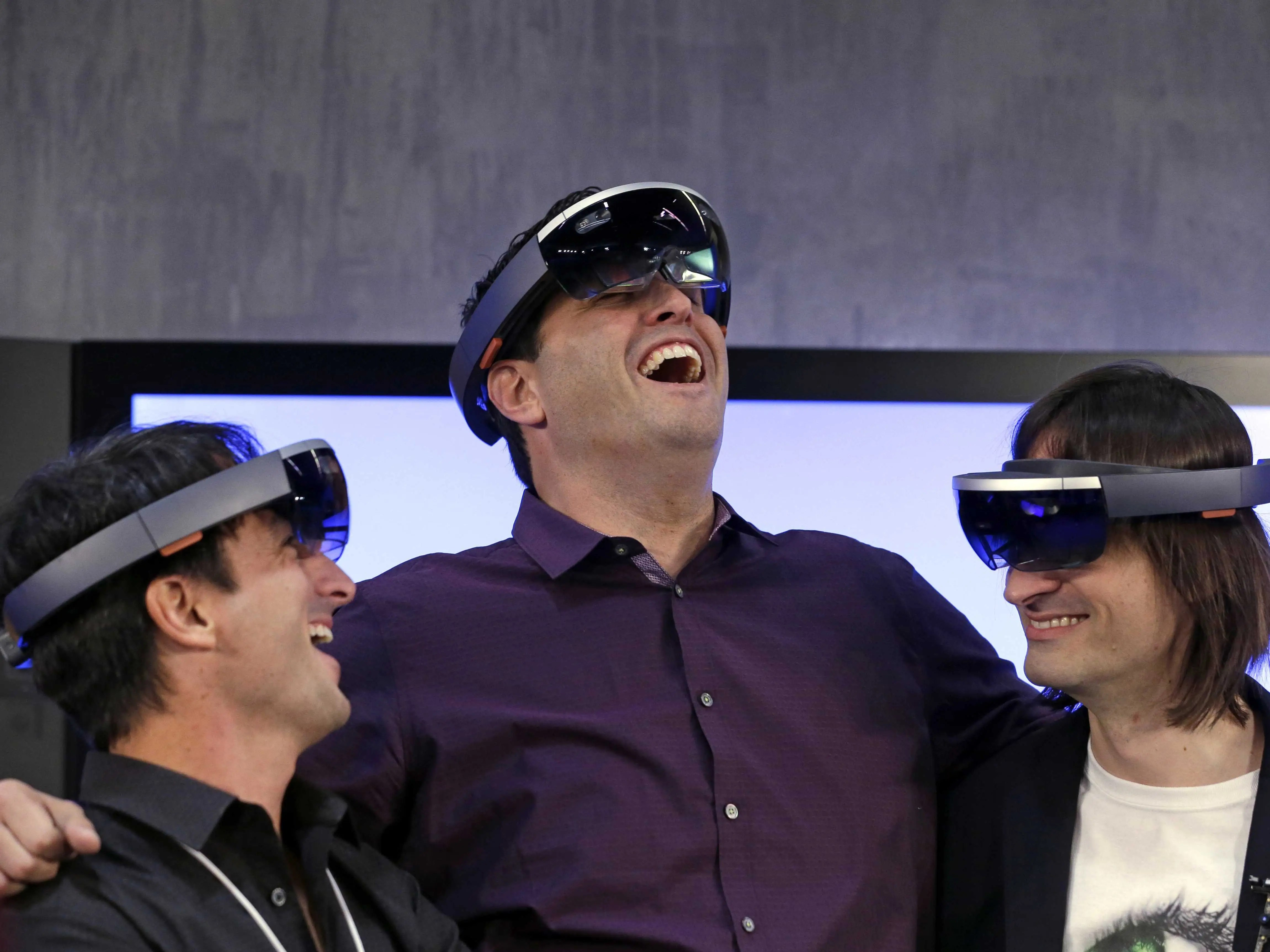 microsoft executives testing the hololens