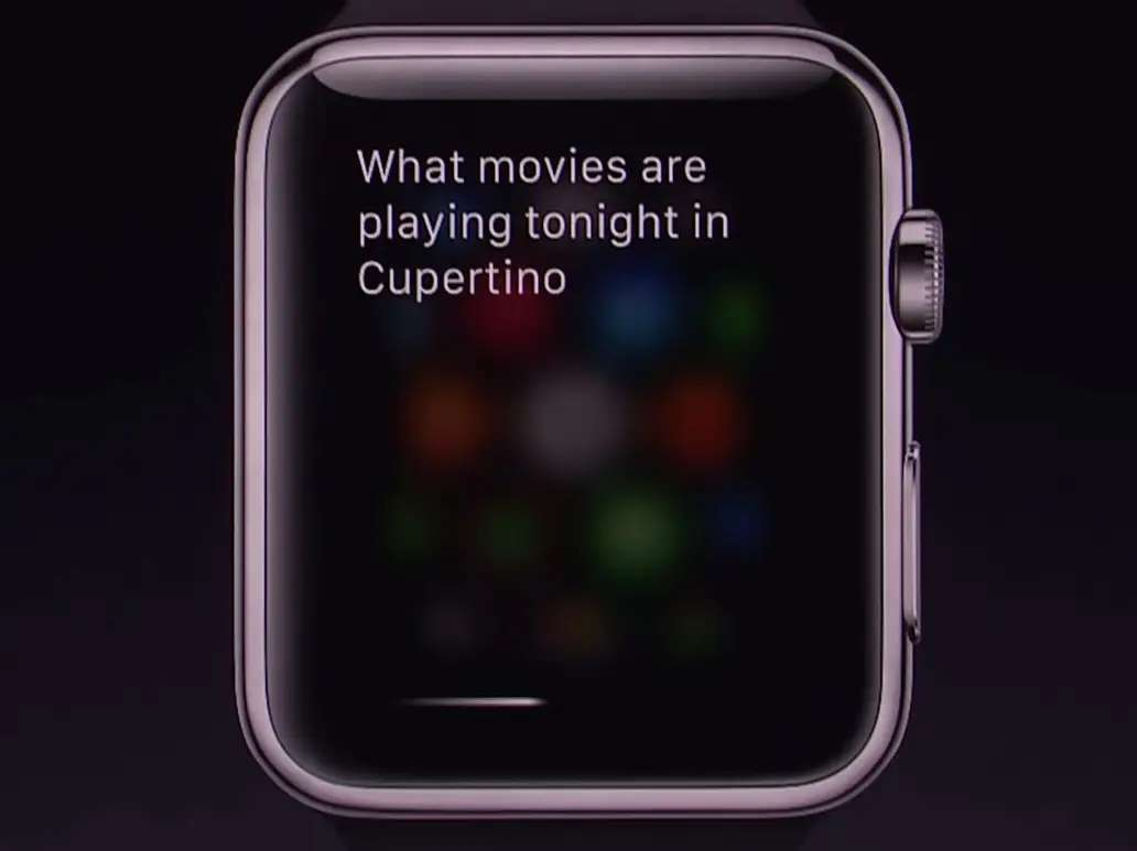 Siri works too. Just ask a question into your watch like you would on your iPhone.
