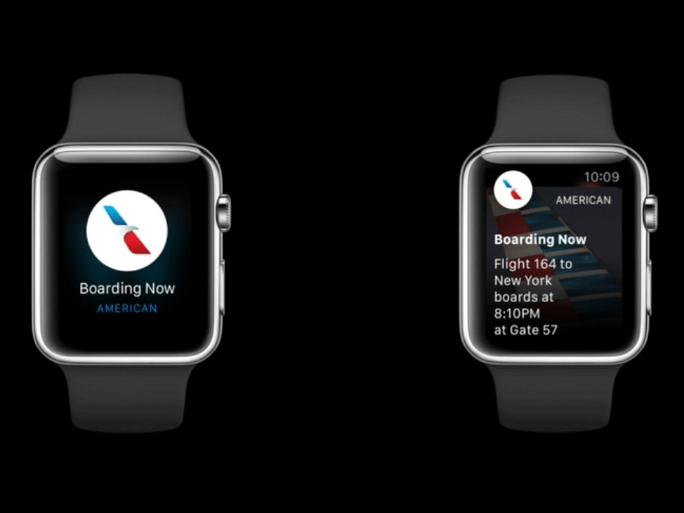 Third-party apps will be able to show glances of relevant information on your wrist. For example, you can get a notification when your flight is about to board.