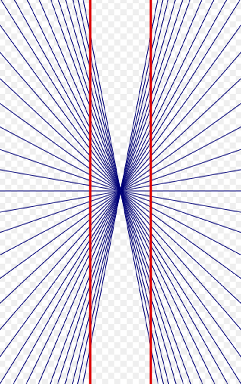 The Hering illusion: The two red lines in the image appear to be bending outward, but they are completely straight.