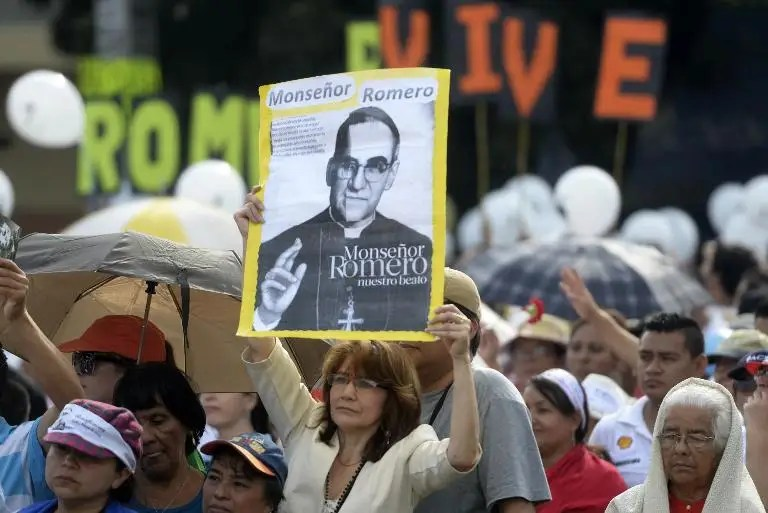 Thousands of Catholic faithful participate in a ceremony celebrating the beatification of martyr archbishop Oscar Romero at Las Americas square in San Salvador, on May 23, 2015