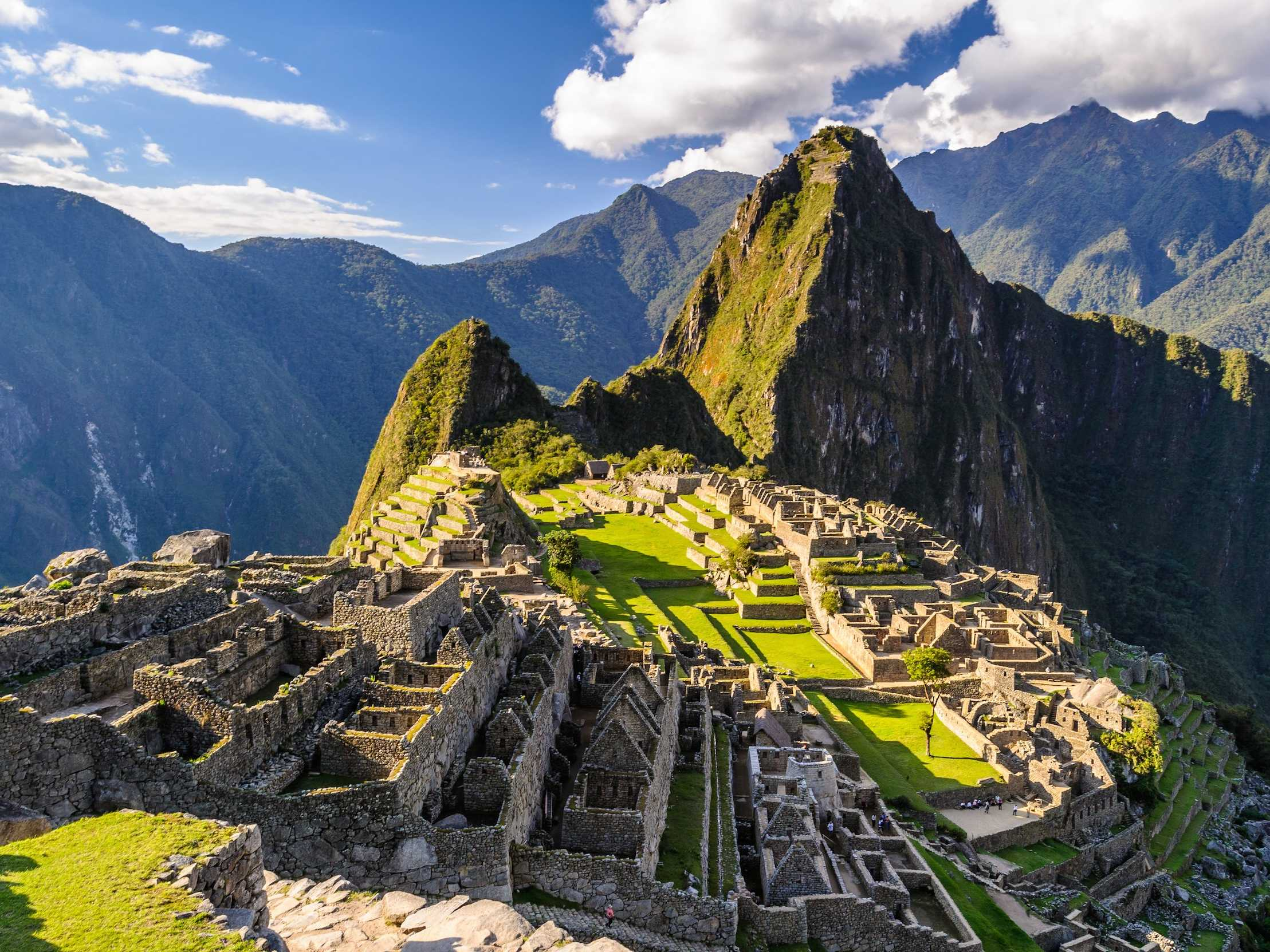 "Climb up Machu Picchu in Peru to see the impressive and almost untouched ruins of the ""Lost City of the Incas."""