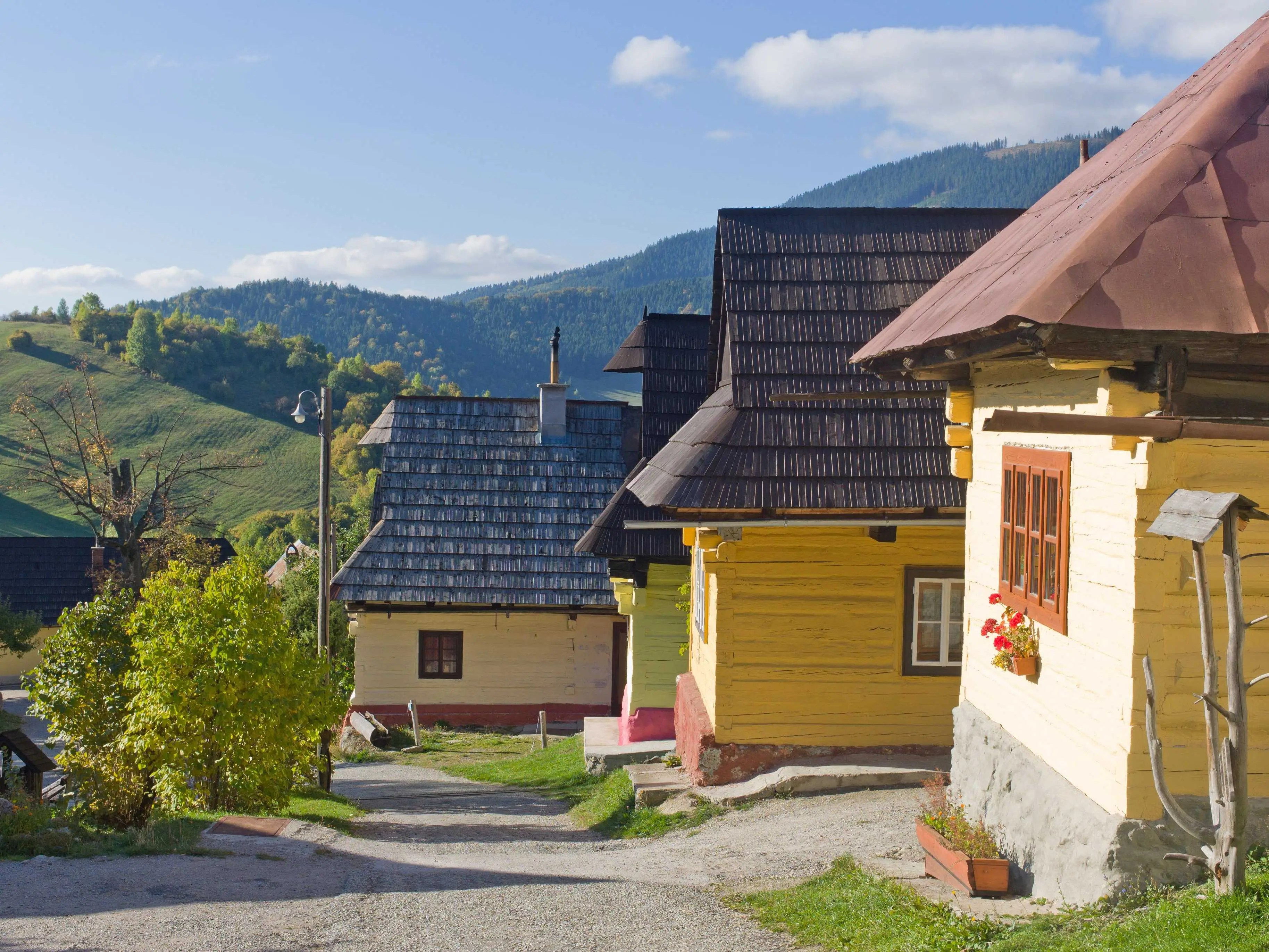 Vlkolínec, a village that resides under the administration of Ružomberok in Slovakia, maintains more than 40 unaltered buildings from 1376. The village still hosts traditional log houses that were once popular, as well as the elongated strip-shape characteristic of medieval land allotment.